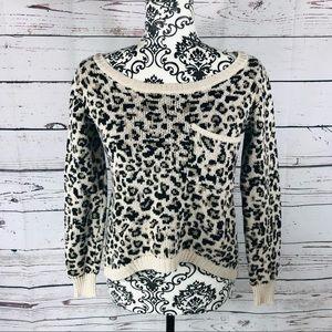 Billabong Designer Leopard Print Hi-Lo Sweater S